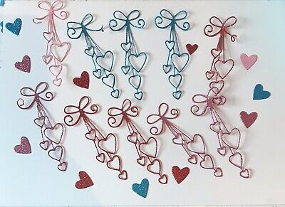 Multi Colour Cute Hanging Heart Wedding Occasions Birthdays  Love Heart Die Cuts • 1.60£