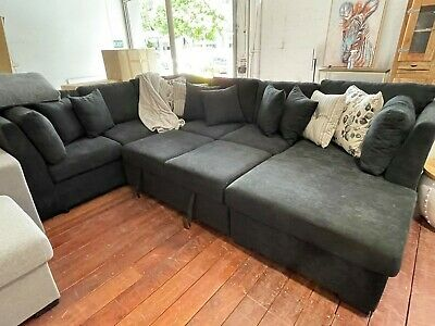 AU1999 • Buy Large Sofa Lounge Set 7 Seater Modular Chaise Chair Suite Couch Black Sofa Bed