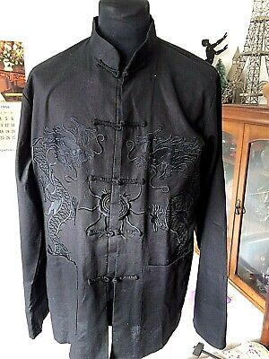 £17.50 • Buy Black Cotton Casual Smart Chinese Shirt Jacket Embroidered Dragons ~ L