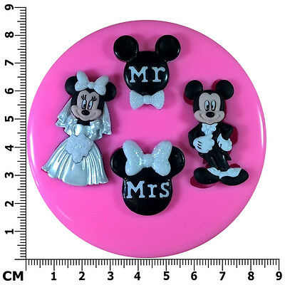 £6.75 • Buy Mr & Mrs Mickey & Minnie Mouse Wedding Engage Silicone Mould By Fairie Blessings
