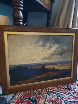 Antique Oil On Canvas , A Sea View And A Moody Sky • 145£