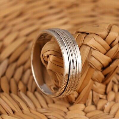 £19.98 • Buy Solid 925 Sterling Silver Spinning Thumb Worry Band Ring 7mm Mens Womens