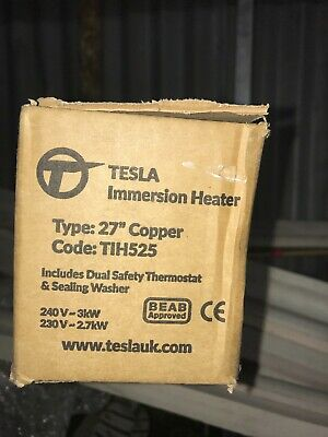 """Tesla 27"""" Copper 3kW Hot Water Immersion Heater Element  + Thermostat • 19.50£"""