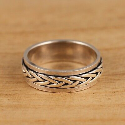 £20.98 • Buy Solid 925 Sterling Silver Celtic Spinning Worry Band Thumb Ring 7mm Wide
