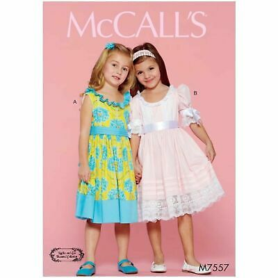 £10.95 • Buy McCalls Sewing Pattern 7557 Girls Dress Party Ruffled Age 2-5 Or 6-8 Bridesmaid