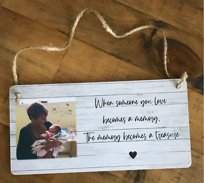 £5.99 • Buy Personalised Photo Memory Gift Sympathy Remembrance Bereavement Present Plaque