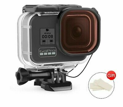 AU38.44 • Buy 60m Waterproof Case + Red Filter For Go Pro Hero 8 Black Camera Dive Protective