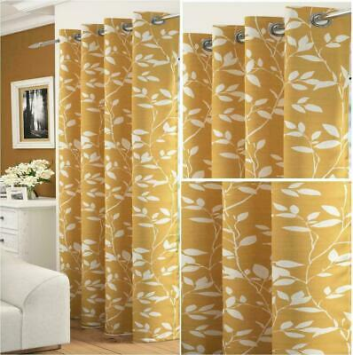 £11.89 • Buy  Mustard Ochre Gold Floral White Laurel Leaves Thick Voile Eyelet Curtain Panel