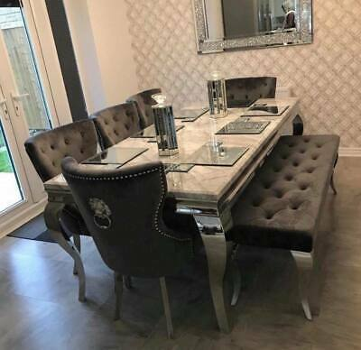 £1199 • Buy Louis 150cm White Marble Dining Table + 4 Grey Ring Knocker Chairs + 130cm Bench