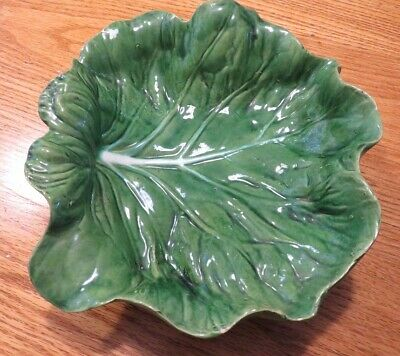 £22.71 • Buy Antique Cabbage Leaf Majolica Hand Made Bowl Portugal