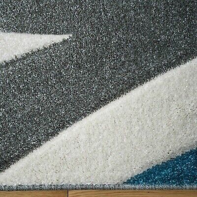 Blue Grey Wave Rug Striped Nautical Teal Cream Cosy Soft Hand Carved Modern Rugs • 99.95£