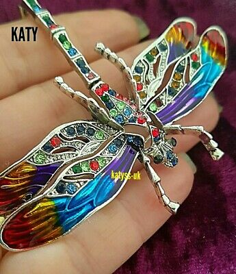 £12 • Buy 3.93  Large Articulated Big Dragonfly Crystal Broach Vintage Silver BROOCH Pin