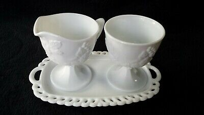 $12.50 • Buy White Milk Glass Cream Sugar Underplate SET Grapes Leaves Vintage Opaque Footed