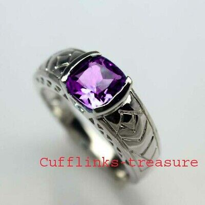 £50 • Buy Natural Amethyst Gemstone With 925 Sterling Silver Ring For Men's Size N To Z