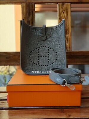 AU3595 • Buy 🍊 Hermes Mini Evelyne Tpm Gris Etain Clemence Leather Palladium Hardware 🍊