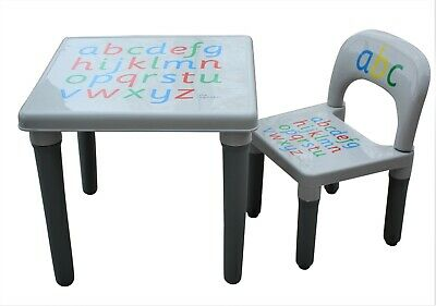 £21.75 • Buy Kids Table And Chair Set Grey Large ABC Alphabet Childrens  - Toddlers Childs