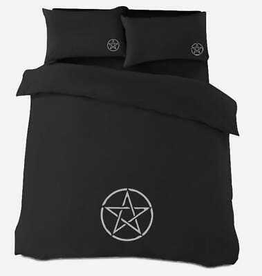 Gothic Black Silver Pentacle Duvet Cover Bedding In Double Or King Witch Wicca • 26£