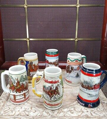 $ CDN36.24 • Buy Lot Of 6 Budweiser Beer Clydesdale Holiday Christmas Stein Mug And More