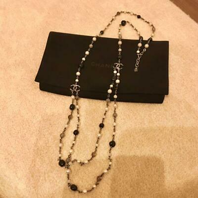 £756.97 • Buy Auth Chanel Long Necklace Fake Pearl Color Stone Silver L:110-115cm Coco Mark