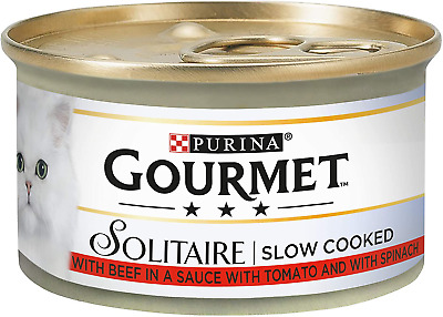 Gourmet Solitaire Beef With Tomato Sauce And Spinach 85g  Pack Of 12 • 8.99£