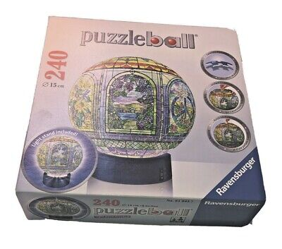$26.97 • Buy Ravensburger Stained Glass 3D Jigsaw Puzzle Ball 240 Pieces Globe Lighted Stand