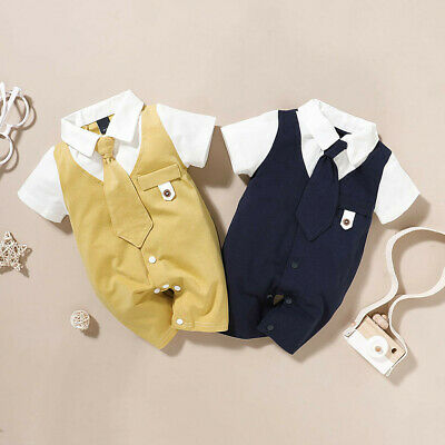 $10.97 • Buy Newborn Infant Baby Boys Solid Gentleman Tie Romper Jumpsuit Outfits Clothes