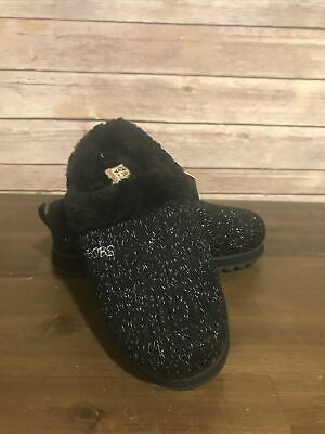 "Bobs By Skechers Memory Foam Slippers ""keepsake"" Size 5 Black With Silver Detail • 16.65£"