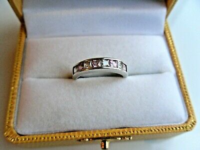 Ladies Sterling Silver 925 Ring Size O  With 8x Cz Sparklers Pink And Clear • 21.95£