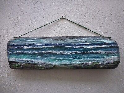 Acrylic Coastal Cove Seascape Ocean Plaque On Driftwood • 10£