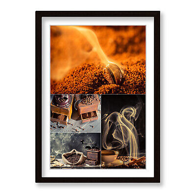 £21.99 • Buy Coffee Kitchen Beans Cafe Brown Framed Wall Artwork Print Poster Picture