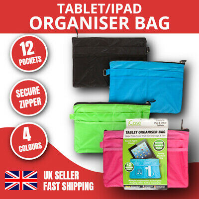 £3.99 • Buy Icase Tablet Organiser Bag Ipad Case 12 Pockets Kindle Sleeve Pouch Cover Gift