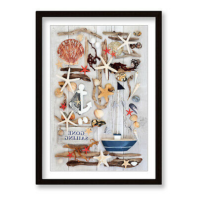 Shabby Chic Sail Boat Beach Framed Wall Artwork Print Poster Picture • 21.99£
