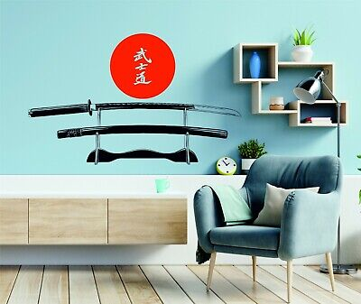 Katana Samurai Sword Japanese Wakizashi Red Sun Wall Art Stickers Decals Vinyl • 12.98£
