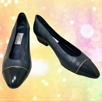 £28.94 • Buy Trotters  Maggie  Black Leather Slide On Wing Tip Classic Pump- Size 8.5 N