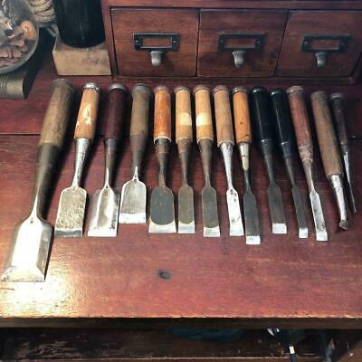 Japanese Vintage Chisel Nomi Carpenter Tool 14 Pcs Set Kakuri Masahide Woodwork • 262.38£