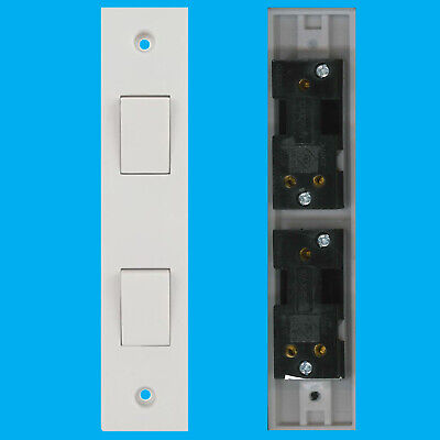 £4.76 • Buy 2x 2 Way 2 Gang White Plastic Architrave Horizontal Wall Light Switch 10A