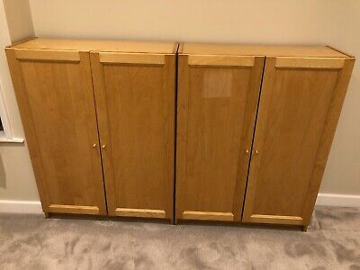 2 X Billy Bookcases With Doors 106cm Tall. Beech Or Birch IKEA Shelving • 65£