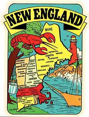 $3.99 • Buy New England Boston Maine Vermont CT Map    Vintage Looking Travel Decal  Sticker