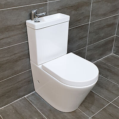 £249.99 • Buy Compact Rimless Duo All In One Toilet Basin Combination Cloakroom Unit Sink+Tap