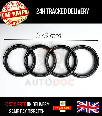 £17.99 • Buy Audi Front Grille Gloss Black Badge Rings A4 A5 A6 S3 S4 S5 RS3 RS4 273mm X 94mm