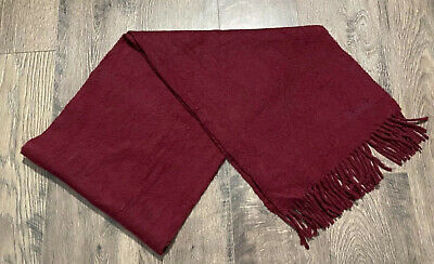$28.16 • Buy Harrods Fringe Scarf 100% Cashmere Burgundy Made In Scotland 58 X 11.5 Inches