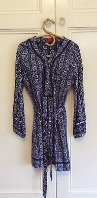 AU80 • Buy Tigerlily Size 14 Blue And White Floral Long Sleeve Boho Dress