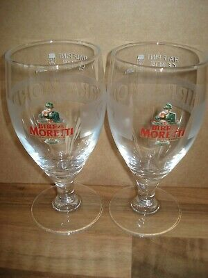 TWO BIRRA MORETTI  HALF PINT  LAGER / BEER GLASSES - NEW - SECONDS - Home Bar  • 9.99£