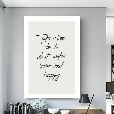 Take Time Soul Happy Inspirational Quote Printed Canvas Wall Art Print Framed  • 19.99£