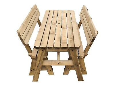 £320 • Buy Picnic Table And Bench Garden Set, Victoria Rounded Compact With Backrest