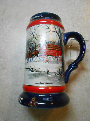 $ CDN12.67 • Buy VINTAGE  C1990 A+ BUDWEISER CHRISTMAS HOLIDAY CLYDESDALE HORSES BEER WAGON STEIN