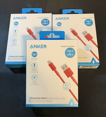 AU36.67 • Buy Anker PowerLine Select + USB-A To USB-C Red (6ft) 2.0 Cable - Set Of 3