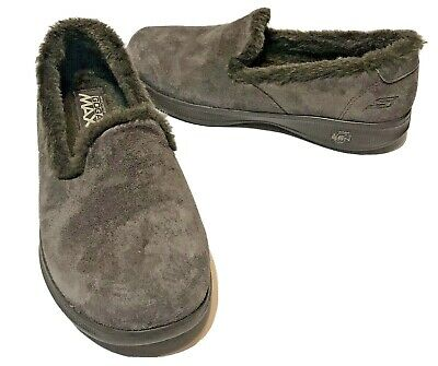Skechers Goga Max Womens Slippers Loafers Suede Leather Fur Lined Brown Size 7 • 13.55£