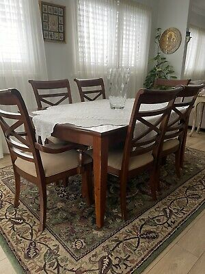 AU403 • Buy Solid Timber Dining Table Set Inc 6 Chairs