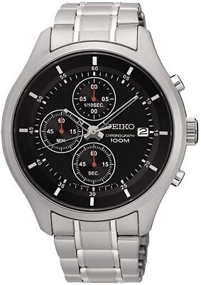 £79.99 • Buy Seiko Mens Chronograph Watch With Silver Strap And Black Dial SKS539P1